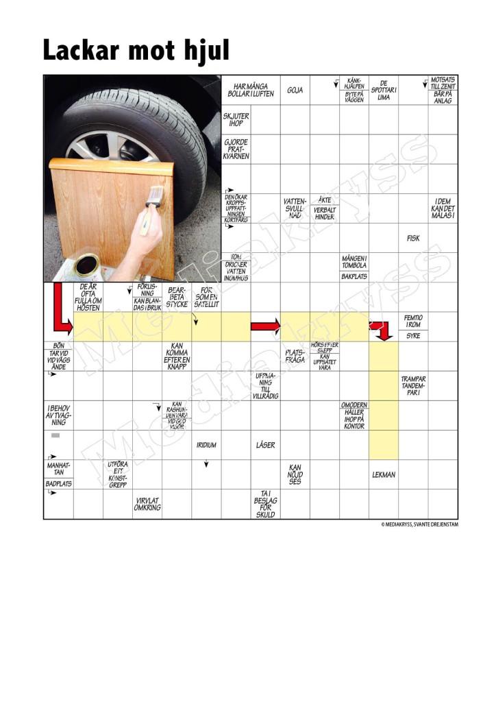 Korsord 153 – Lackar mot hjul